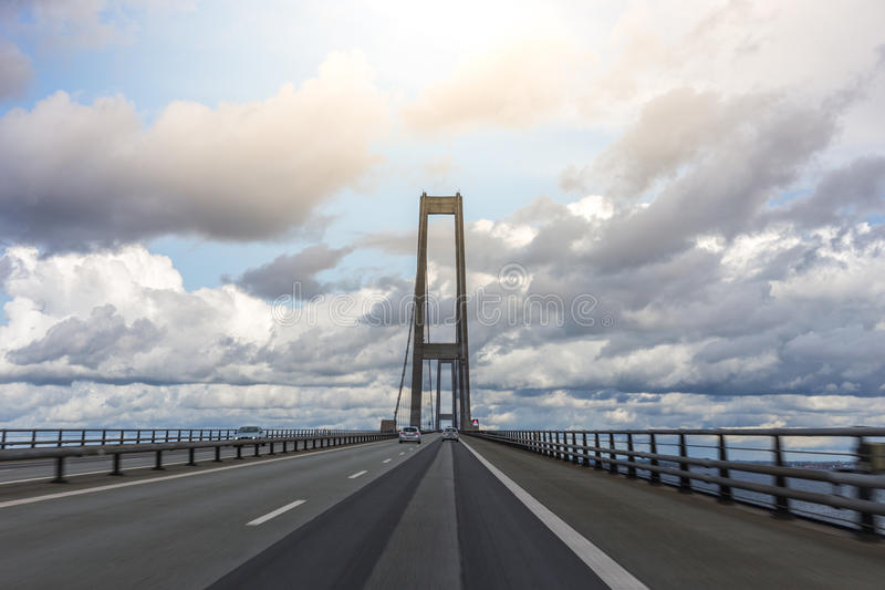 Sul grande ponte della cinghia, la Danimarca immagine stock libera da diritti