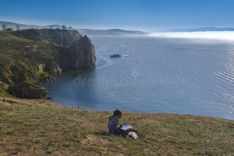 Sul lago Baikal il capo Burkhan fotografia stock libera da diritti