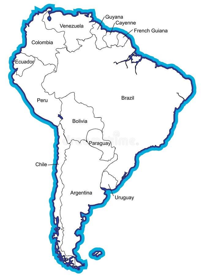 Sul - mapa americano com nomes de país ilustração do vetor