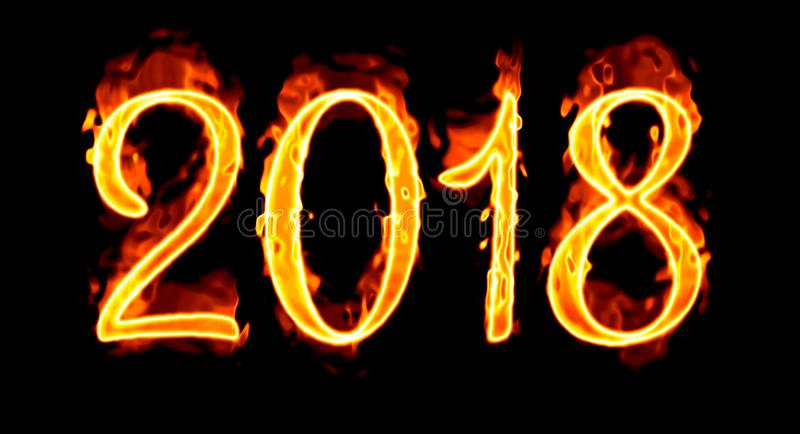 Sul numero nero del fuoco del fondo 2018 immagine stock libera da diritti
