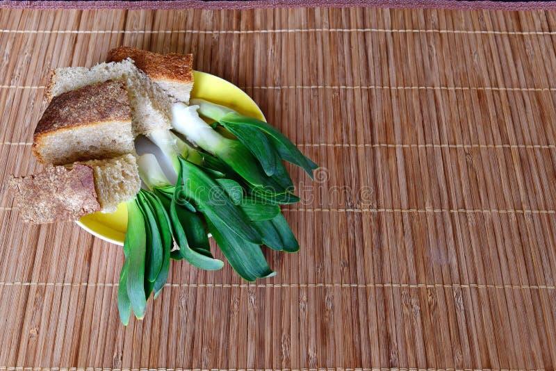 Sul piattino è una cipolla verde selvaggia, pezzi di pane alimento dietetico immagine stock libera da diritti