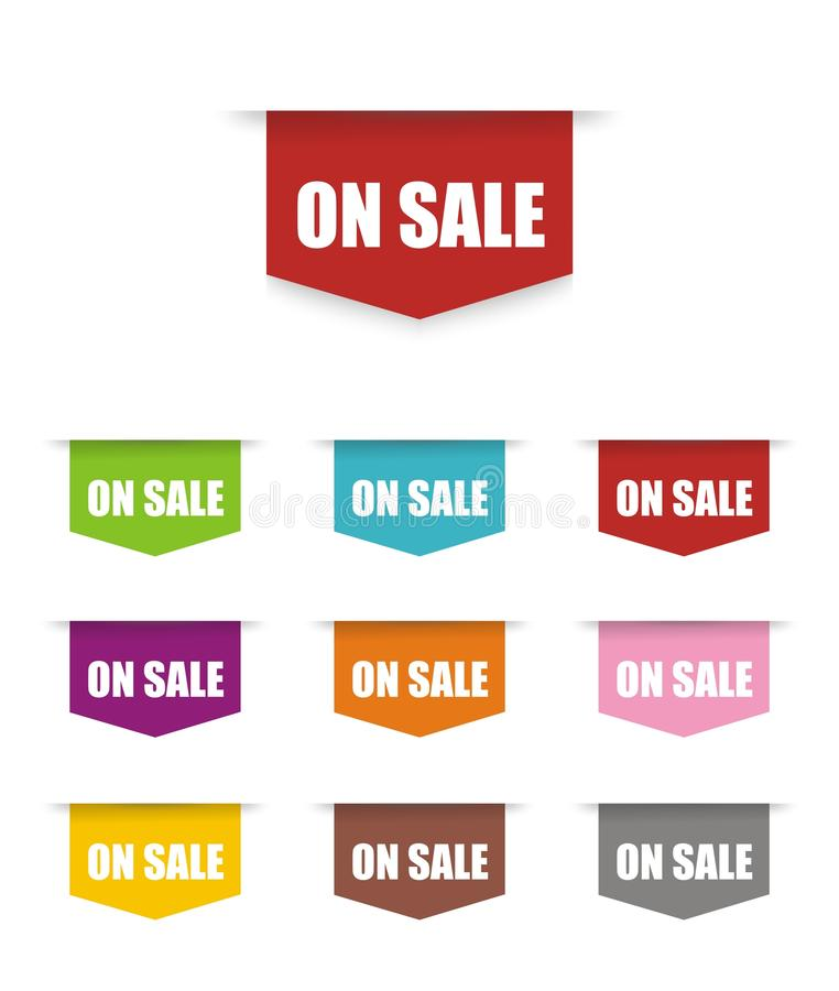 Sul segno del bottone di vendita illustrazione di stock