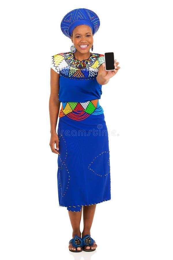 Sul - telefone esperto da mulher africana imagens de stock