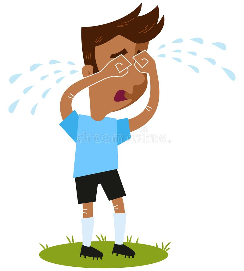 Sul triste - jogador americano da parte exterior do campo do futebol dos desenhos animados que grita muitos rasgos que estão no v ilustração stock