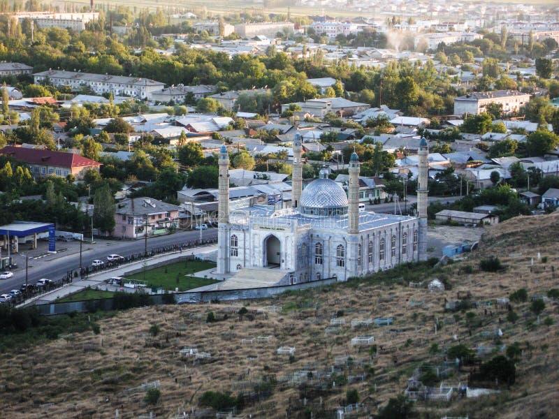 Sulaiman-Too山 市的看法奥什 清真寺 免版税图库摄影
