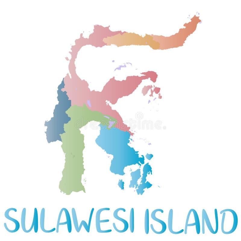 Sulawesi ööversikt Ökontursymbol Isolerad sulawesi översikt stock illustrationer