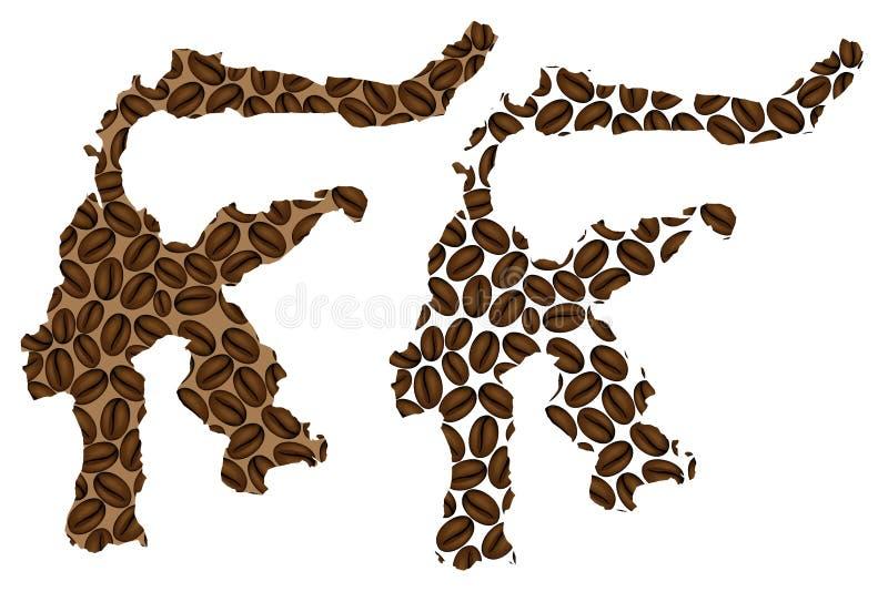 Sulawesi - mapa do feij?o de caf? ilustração stock