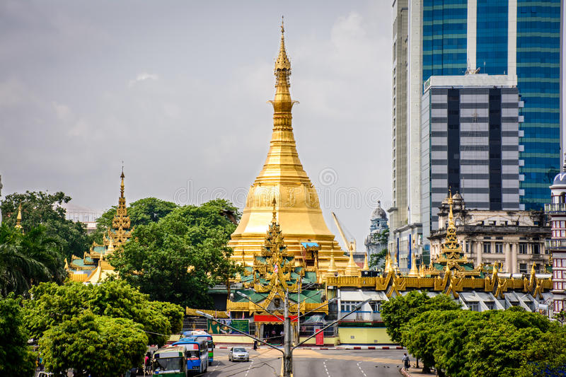 Sule pagoda, It is located in the downtown area of Yangon, Myanmar, May-2017 stock photos