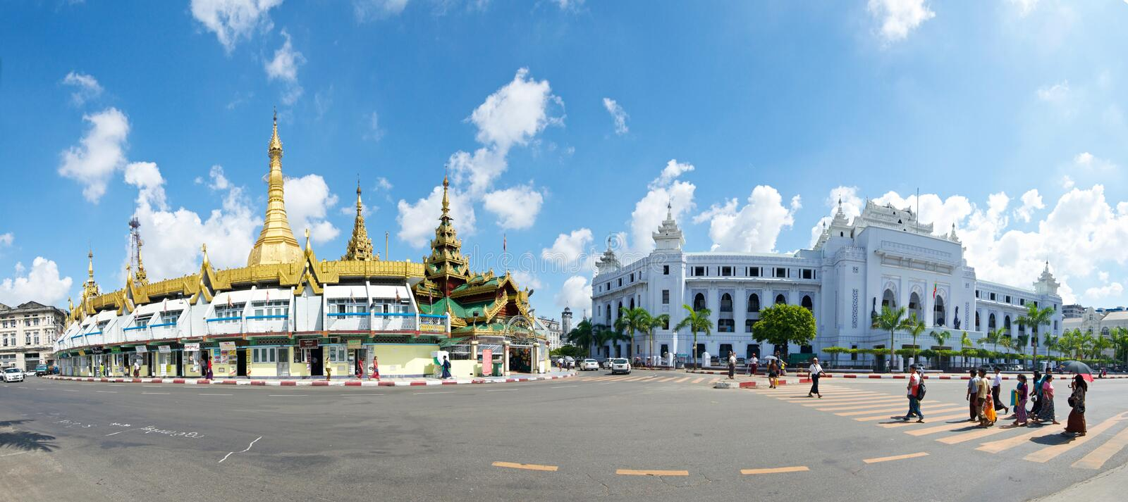 Sule Paya And City Hall Editorial Stock Image