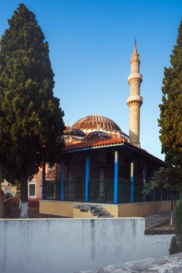 Suleymaniye moské i morgonen Rhodes ö Grekland royaltyfri fotografi