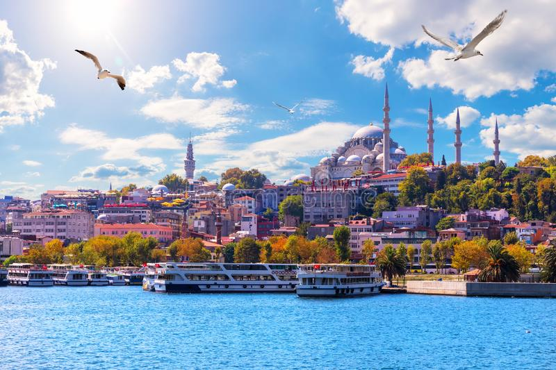 The Suleymaniye Mosque, beautiful view from the Golden Horn inlet, Istanbul, Turkey royalty free stock photo