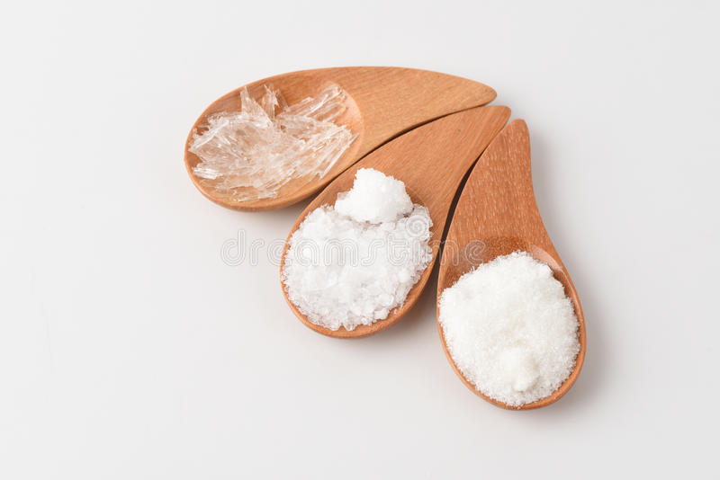 Sulfato de magnésio, sal, sulfato de sódio, árvore de cânfora e mentol fotos de stock royalty free