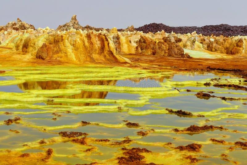 Sulfhur jeziora Dalol obraz stock