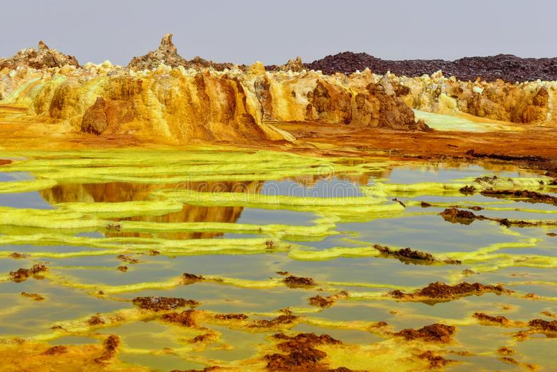 Sulfhur Seen von Dalol stockbild