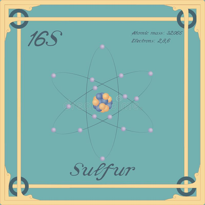 Sulfur colorful icon. Periodic table element. Sulfur colorful icon. Vector royalty free illustration