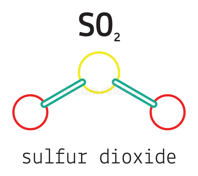 So2 Sulfur Dioxide Molecule Stock Vector