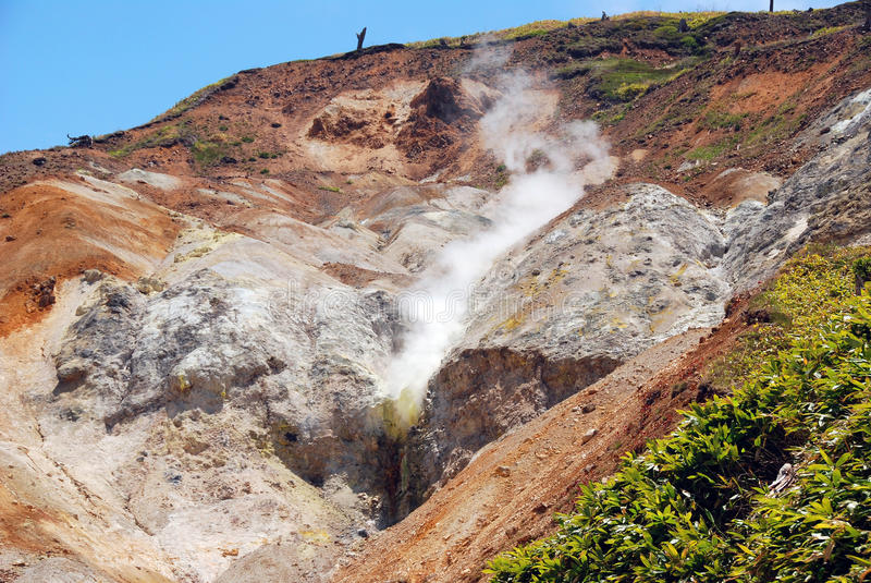 Sulfur Hot Spring. This sulfur hot spring has been used to fill mineral baths in Japanese resorts near Mt. Asama stock images