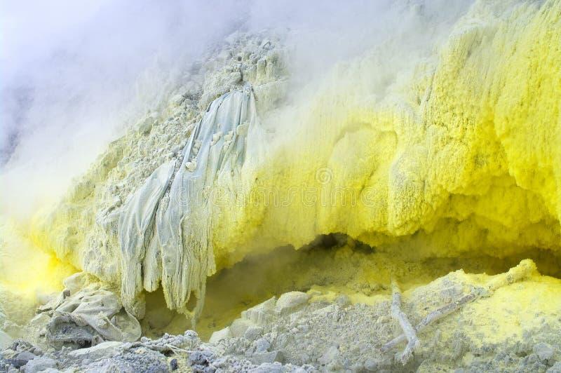 Sulfurous fumaroles in volcano Mount Sinabung royalty free stock photo