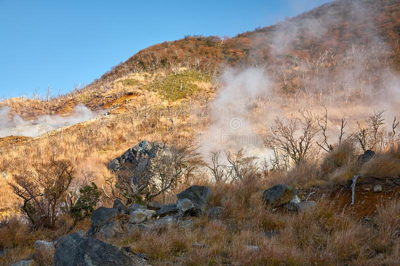 The sulfurous fumes on the slope of Owakudani  Valley.  Hakone area. Honshu. Japan. The sulfurous fumes on the brimstone coated slope of Owakudani The Great stock photo