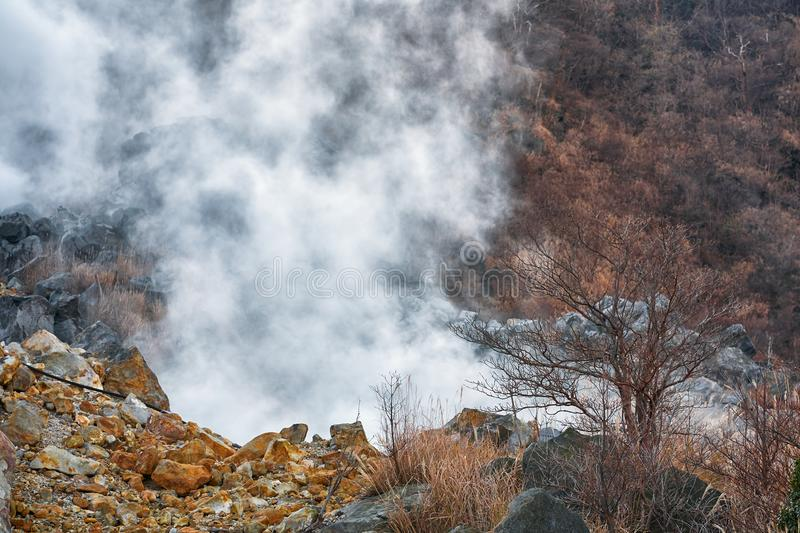 The sulfurous fumes on the slope of Owakudani  Valley.  Hakone area. Honshu. Japan. The sulfurous fumes on the brimstone coated slope of Owakudani The Great stock image