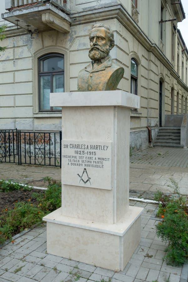 SULINA, DANUBIO DELTA/ROMANIA - 23 SETTEMBRE: Statua di Sir Char immagini stock