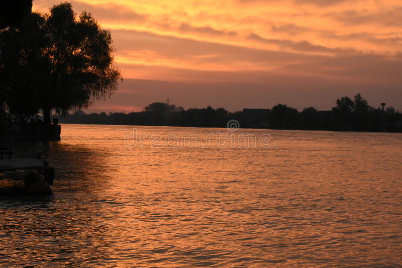 Sulina, the place where Danube goes in to Black Sea stock photos