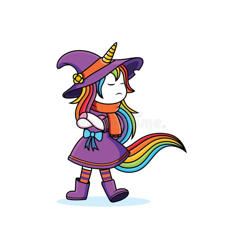 Sulk expression Witches Unicorn. Cute, vector, pink, cartoon, sweet, fairy, tale, drawing, girl, rainbow, illustration, comic, fable, drawn, illustrated royalty free illustration