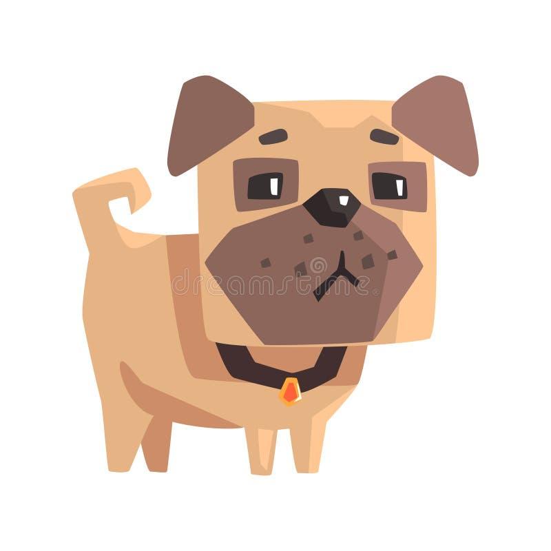 Sulking Little Pet Pug Dog Puppy With Collar Emoji Cartoon Illustration stock illustration