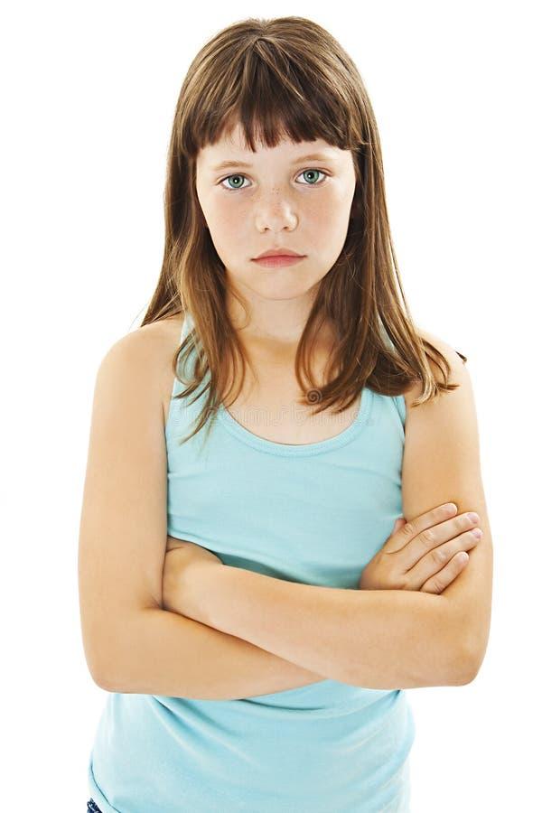 Sulky παιδί, και να μουτρώσει νέων κοριτσιών στοκ εικόνες