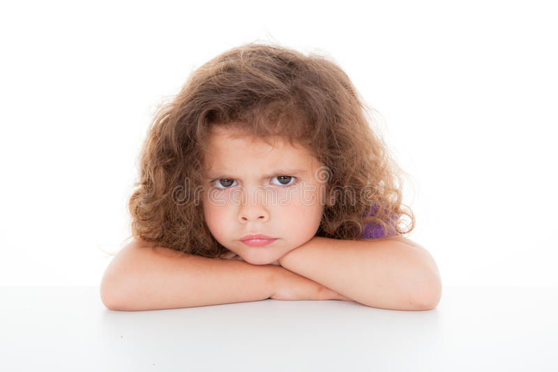 Sulky angry child stock image