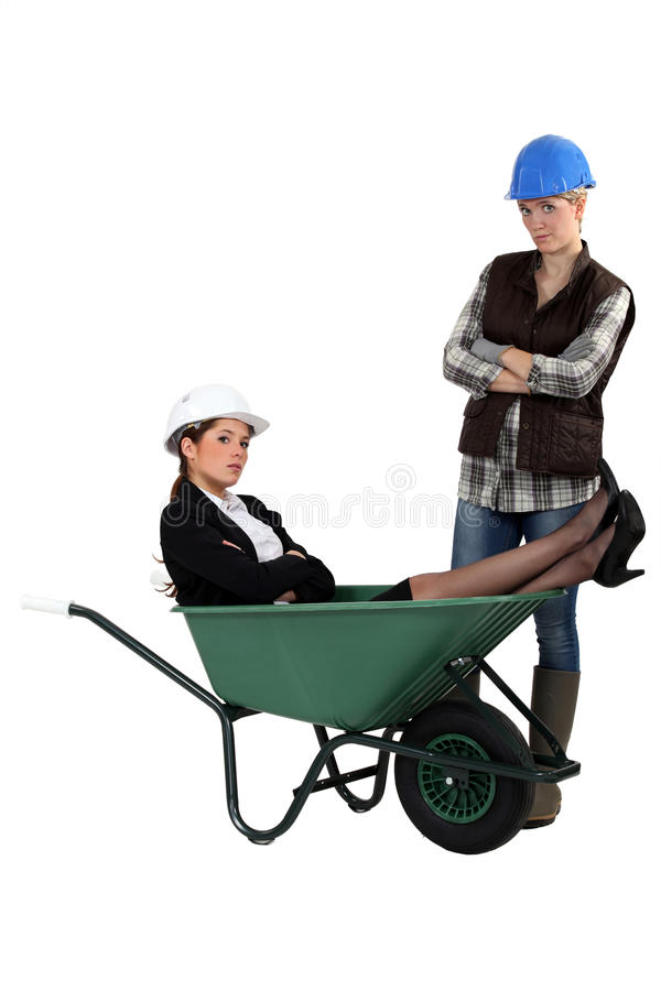 Sulky females working together royalty free stock photo