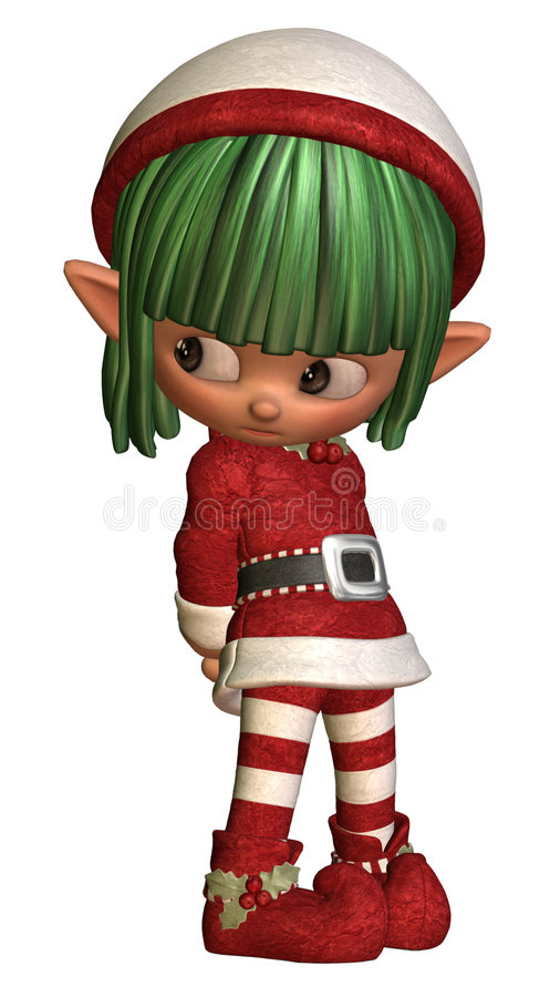 Sulky little christmas elf royalty free illustration