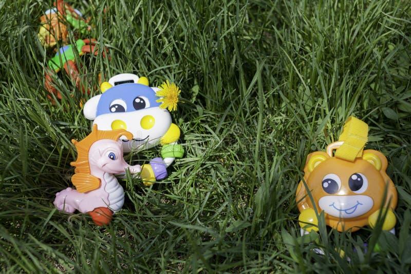 Sull'erba verde nel centro del telaio sono i giocattoli per i bambini beanbag fotografia stock libera da diritti