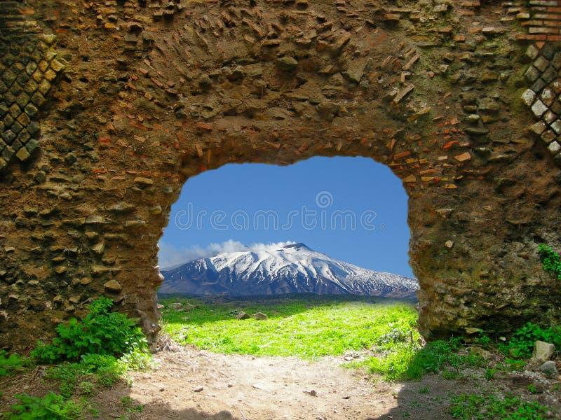 Sull'Etna de finestra d'Una photographie stock