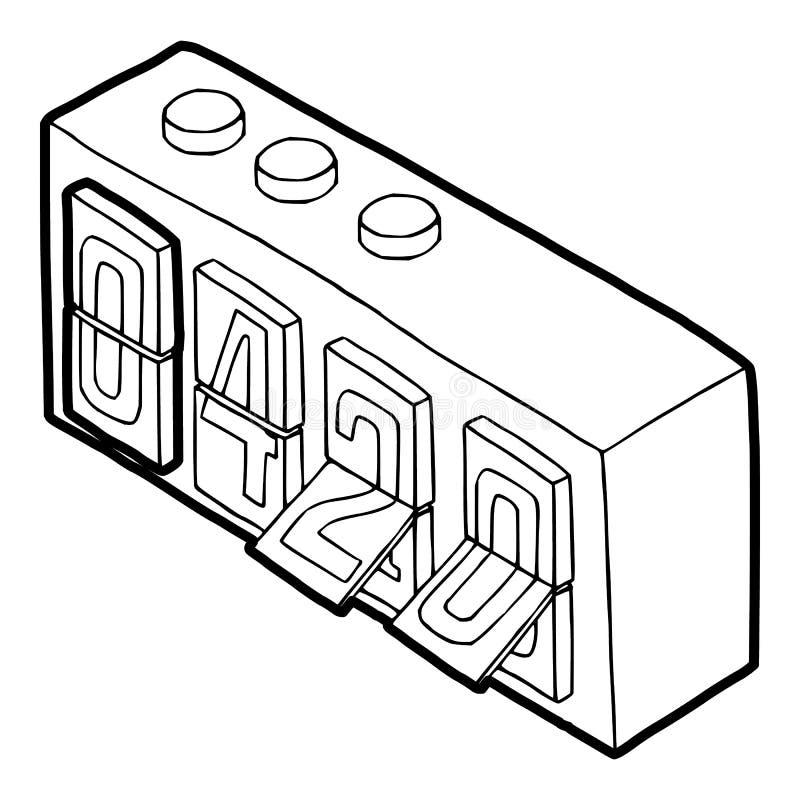 420 sull'icona analogica dell'orologio di vibrazione, stile del profilo royalty illustrazione gratis