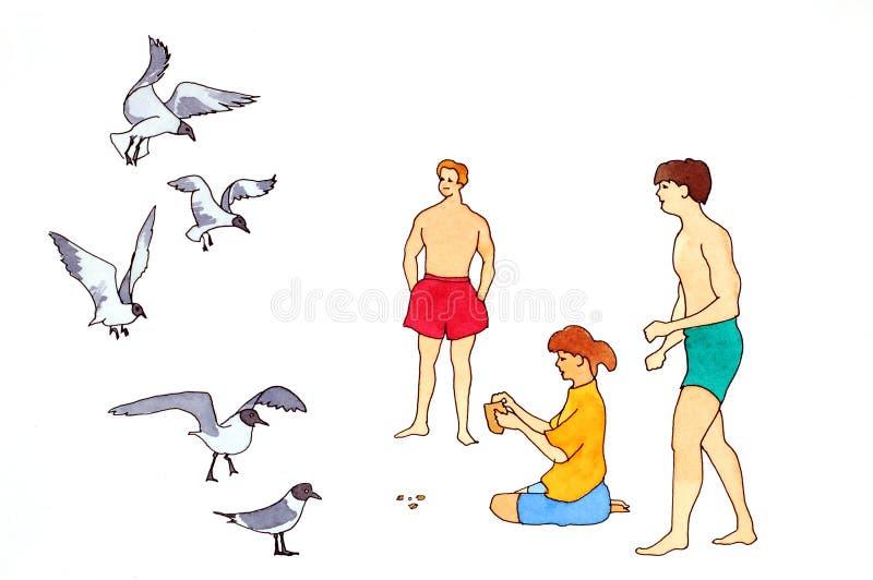 Sulla spiaggia che alimenta i gabbiani immagini stock