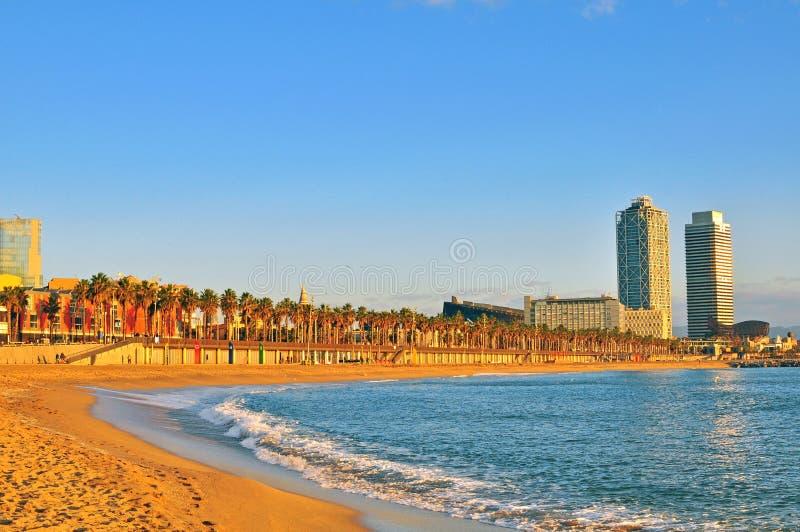 Sulla spiaggia di Barcellona fotografia stock