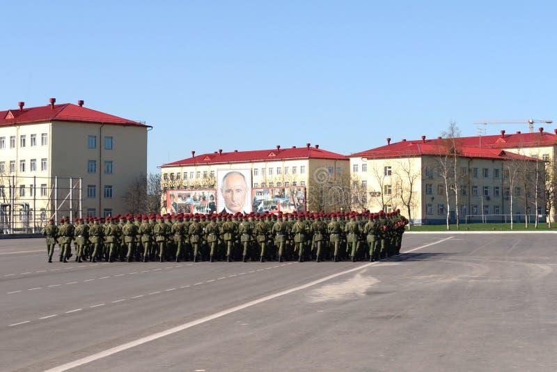 Sulla terra di parata dell'unità militare delle truppe interne del MIA della Russia immagine stock libera da diritti