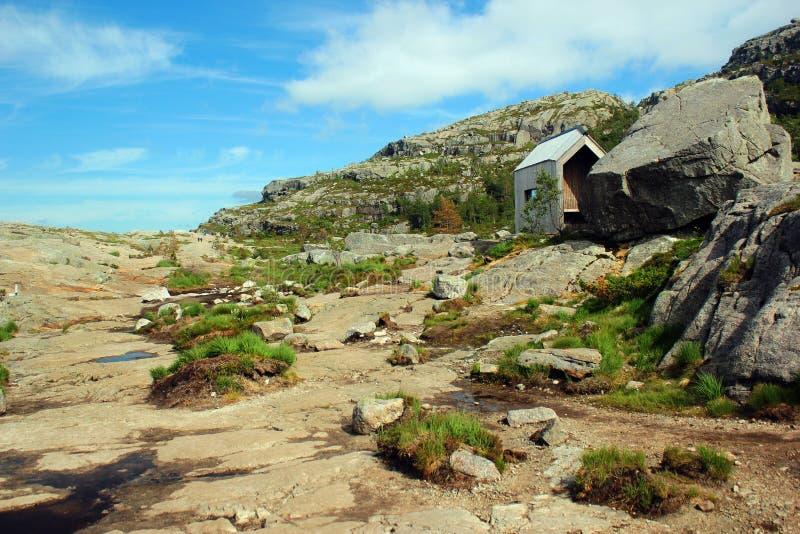 Sulla traccia della scogliera a Preikestolen, la Norvegia fotografie stock
