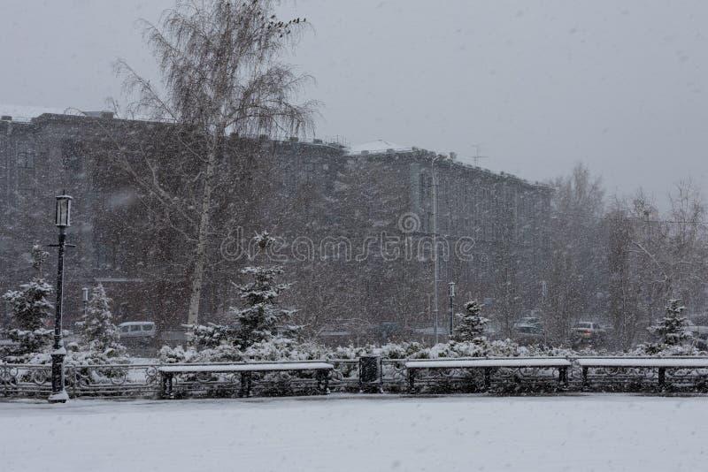 Sulla via in un parco della città sta nevicando di inizio dell'estate Tempo anormale Offuscato, nevoso, freddo fotografie stock