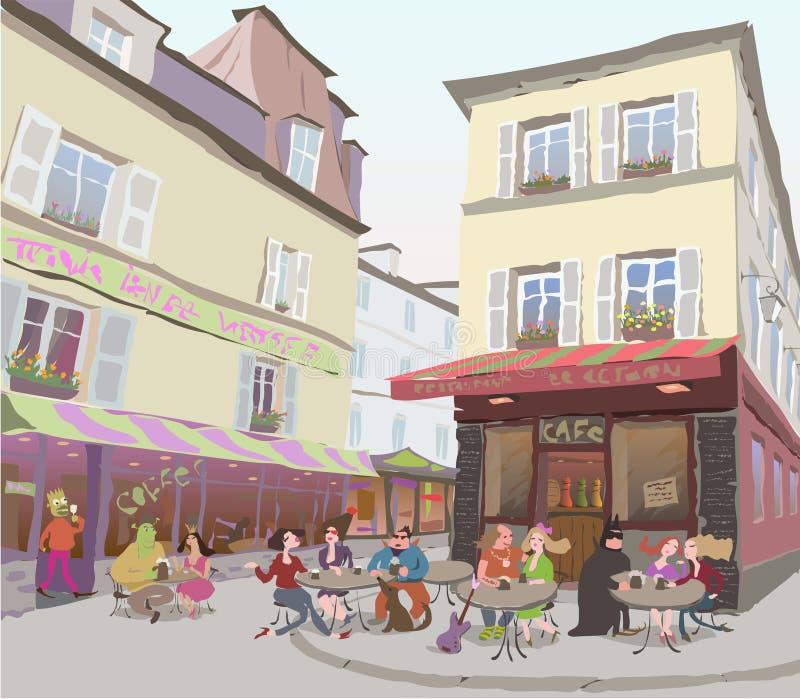 Sulle vie di Parigi illustrazione di stock