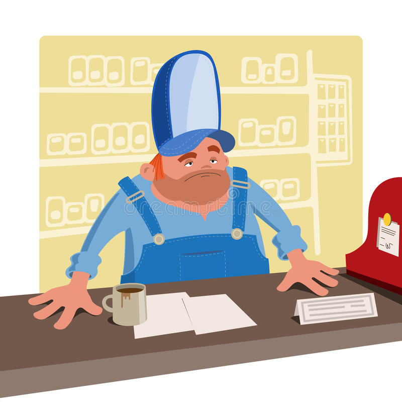 Free Sullen Cashier In A Large Baseball Cap Stock Images - 53077244