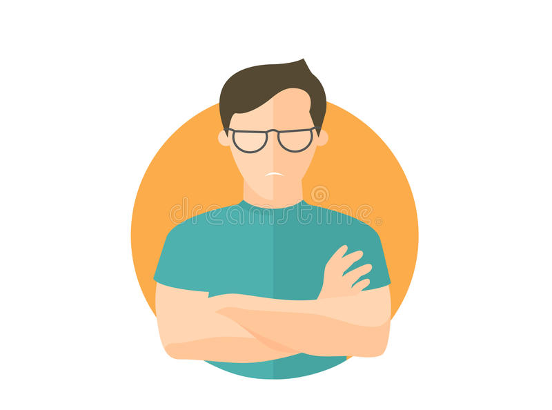 Sullen and gloomy handsome man in glasses, offended guy. Flat design icon. Morose, moody emotion. Simply editable isolated on whit. E vector sign royalty free illustration