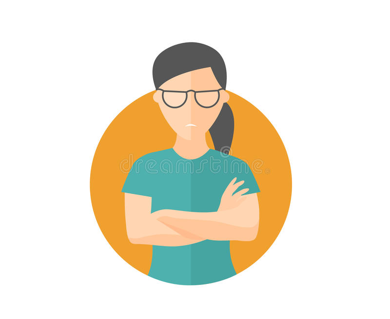 Sullen and gloomy pretty girl in glasses, offended woman. Flat design icon. Morose, moody emotion. Simply editable isolated on whi. Te vector sign royalty free illustration