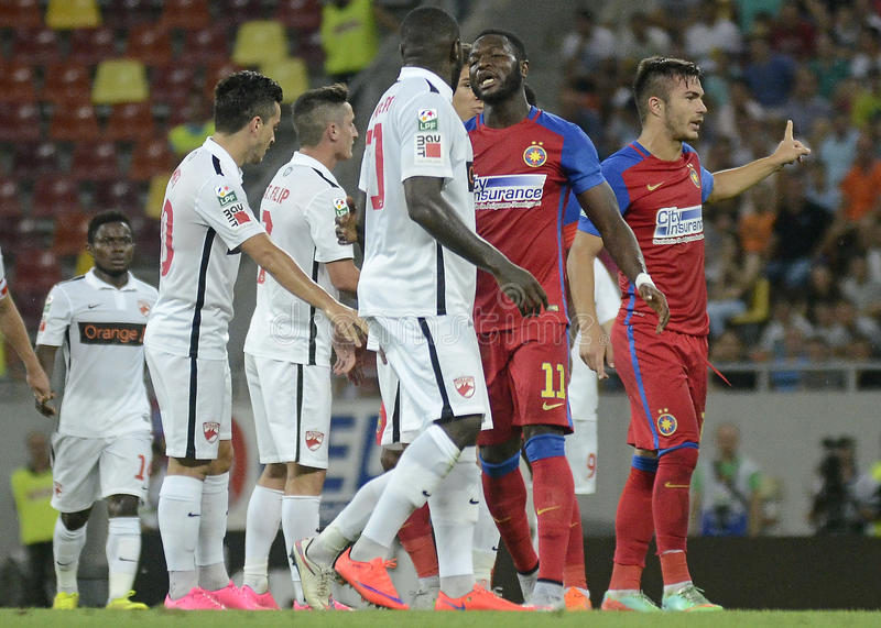 Sulley Muniru. Football players pictured during the Romanian League 1 game between Steaua Bucharest and Dinamo Bucharest on August 9, 2015 at National Arena in stock image