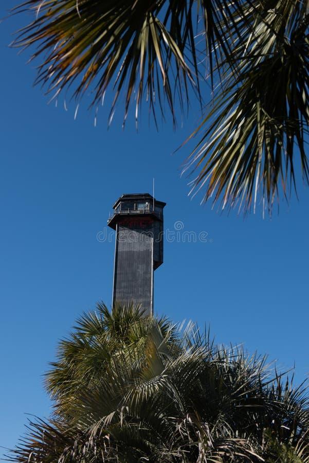 Sullivan wyspy latarnia morska w Południowa Karolina obrazy stock