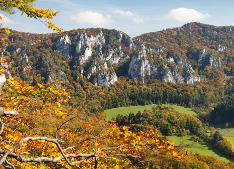 从Sulov罗基斯- skaly sulovske的秋季看法 免版税库存照片