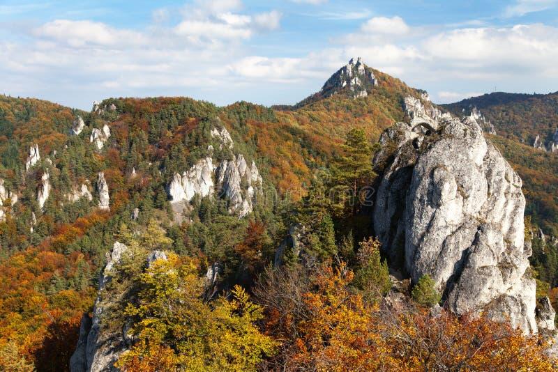 从Sulov罗基斯- skaly sulovske的秋季看法 库存图片