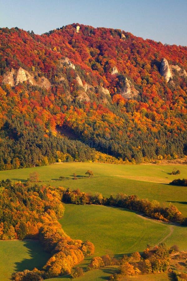 The Sulov rocks mountain in autumn colors. stock photos