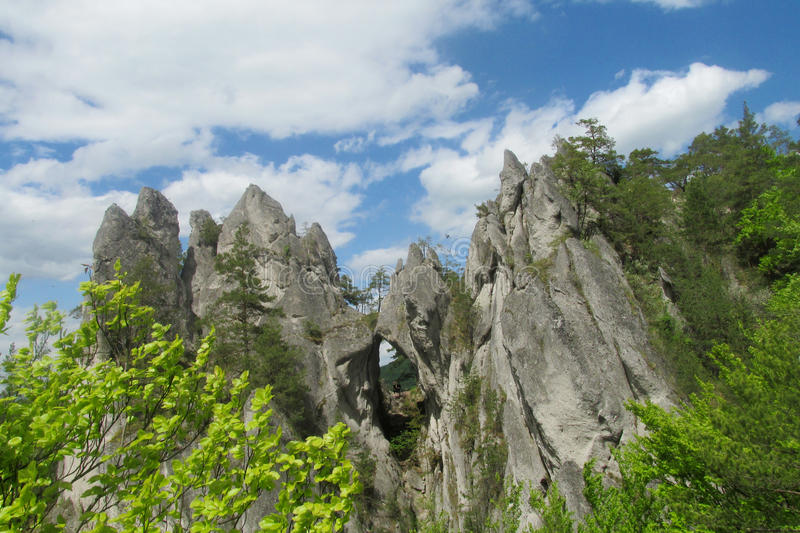 Sulov Rocks in Slovakia. Sulov Rocks, Sulovske skaly national nature reserve situated in the Sulov Mountains region of Slovakia. Rocky crags take the shape of stock photography